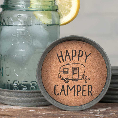 Mason Jar Coasters- Happy Camper