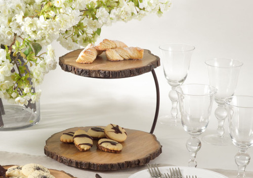 Two Tier Wood Serving Stand