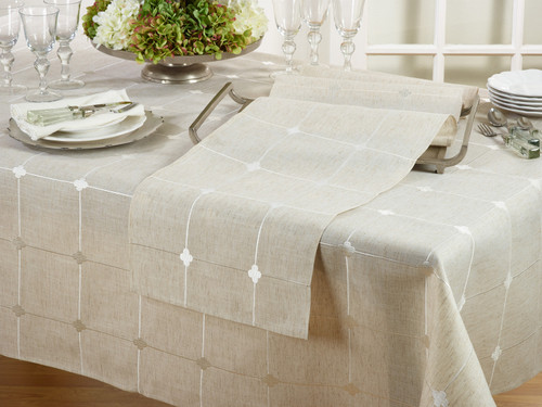 Embroidered Check Tablecloth