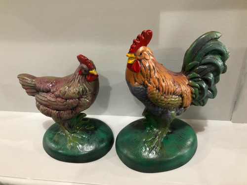 Ceramic Small Rooster/Hen Set