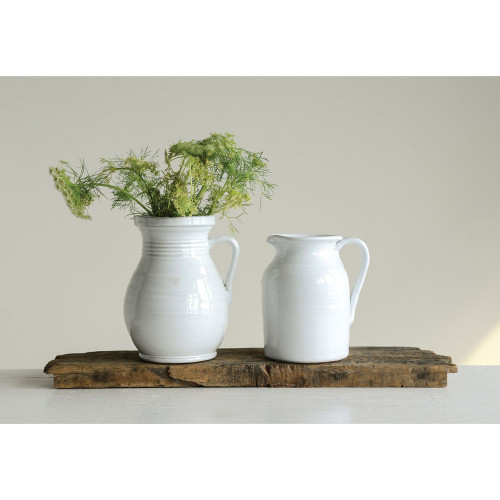 White Terra Cotta Pitcher- 2.5 qt