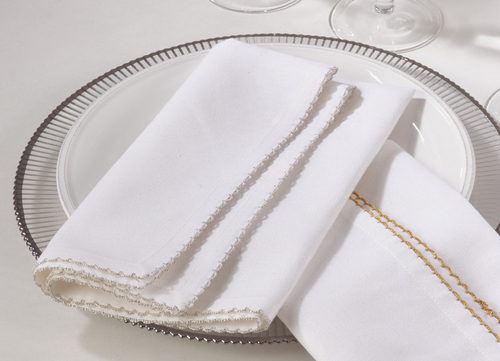Whip-Stith Napkins Set- Silver