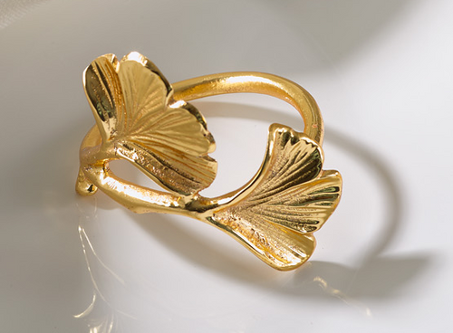 Gingko Gold Napkin Ring
