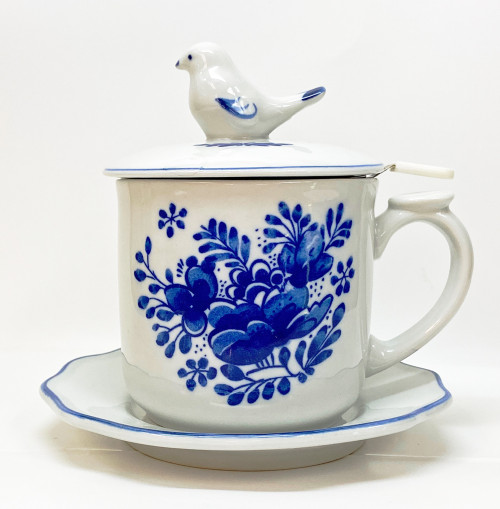 Blue Garden Tea Infuser Mug