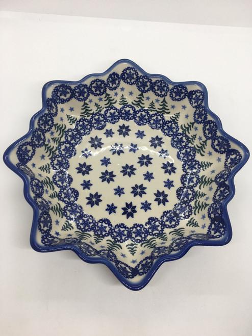 Lg Star Bowl- Pine and Snowflakes