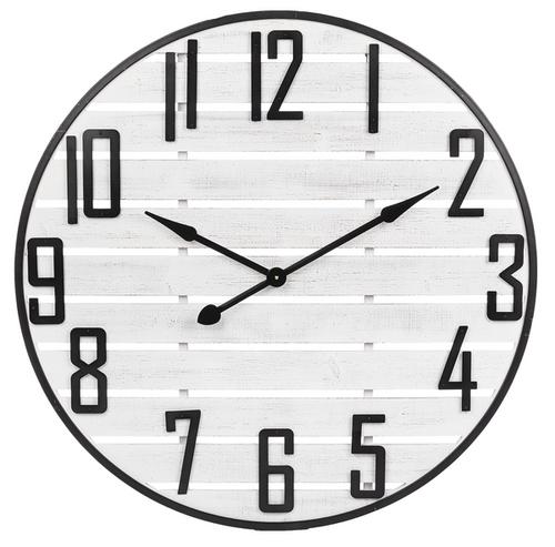 XL White Slat  Wall Clock