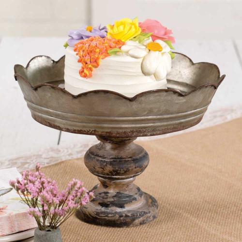 Scalloped Galv Pedestal Bowl