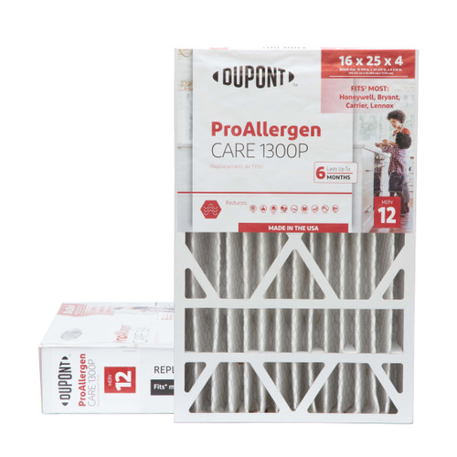 16x25x4-3/8  MERV 12 Replacement HVAC filters for Honeywell air cleaners by DuPont.  2 Pack