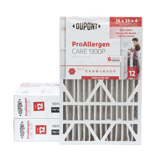 16x25x4-3/8 MERV 12 DuPont Replacement HVAC filters for Honeywell & Carrier air cleaners