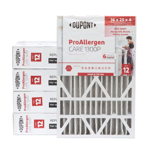 16x25x4-3/8  MERV 12 Replacement HVAC filters for Honeywell air cleaners by DuPont. Case of 5