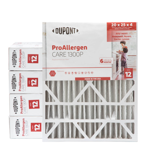 20x25x4-3/8 MERV 12 Replacement HVAC filters for Honeywell air cleaners by DuPont. Case of 5