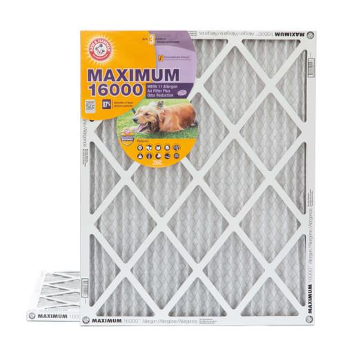 16x20x1 Arm & Hammer MAX 16000 MERV 11 Allergen HVAC Filter for Odors 2 Pack