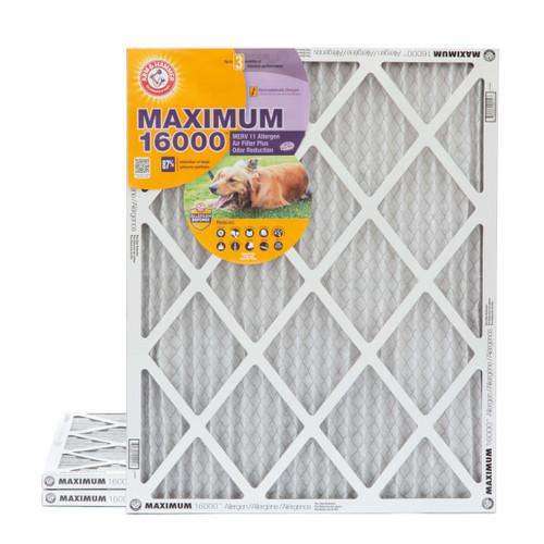 16x20x1 Arm & Hammer MAX 16000 MERV 11 Allergen HVAC Filter for Odors 3 Pack
