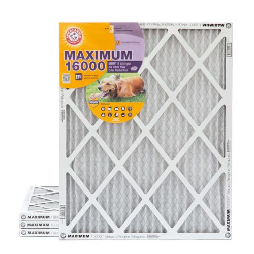 16x20x1 Arm & Hammer MAX 16000 MERV 11 Allergen HVAC Filter for Odors 4 Pack