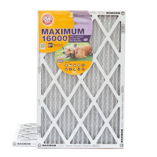 16x25x1 Arm & Hammer MAX 16000 MERV 11 Allergen HVAC Filter for Odors 2 Pack