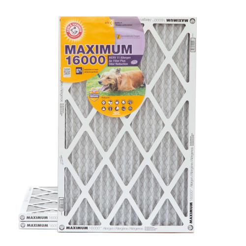 16x25x1 Arm & Hammer MAX 16000 MERV 11 Allergen HVAC Filter for Odors 3 Pack