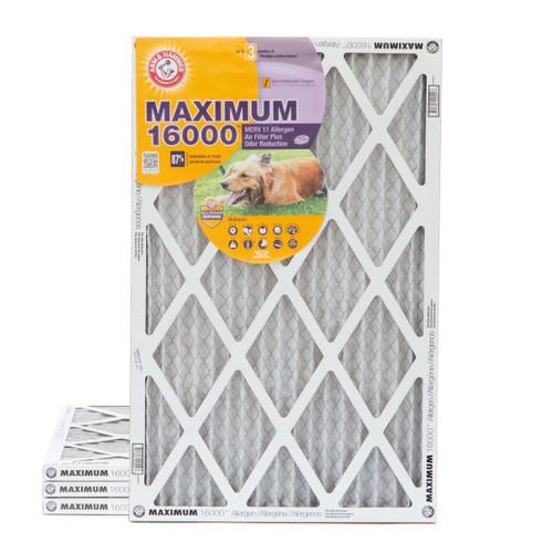 16x25x1 Arm & Hammer MAX 16000 MERV 11 Allergen HVAC Filter for Odors 4 Pack