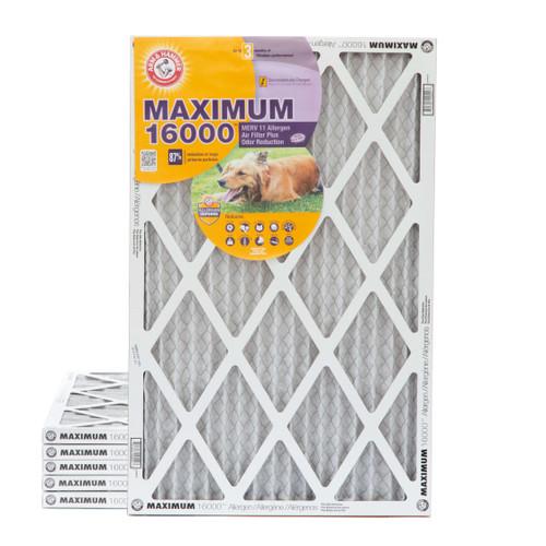 16x25x1 Arm & Hammer MAX 16000 MERV 11 Allergen HVAC Filter for Odors 6 Pack