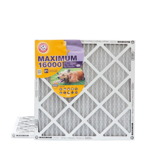 20x20x1 Arm & Hammer MAX 16000 MERV 11 Allergen HVAC Filter for Odors 2 Pack
