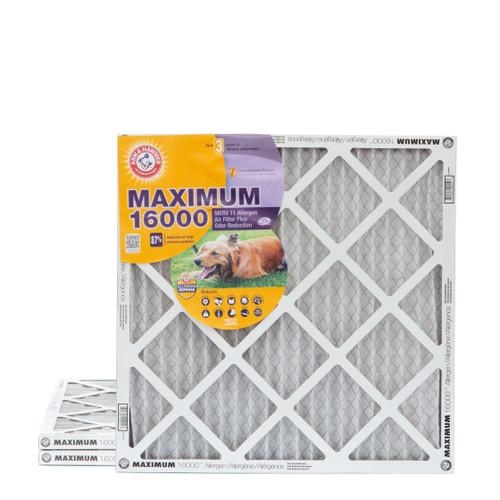 20x20x1 Arm & Hammer MAX 16000 MERV 11 Allergen HVAC Filter for Odors 3 Pack