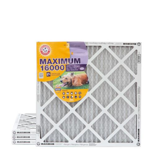 20x20x1 Arm & Hammer MAX 16000 MERV 11 Allergen HVAC Filter for Odors 4 Pack