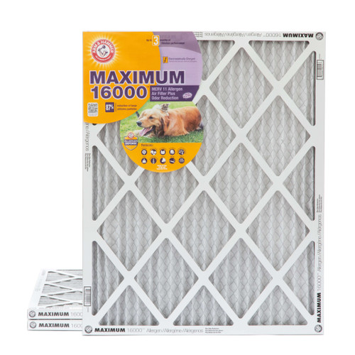 20x25x1 Arm & Hammer MAX 16000 MERV 11 Allergen HVAC Filter for Odors 3 Pack