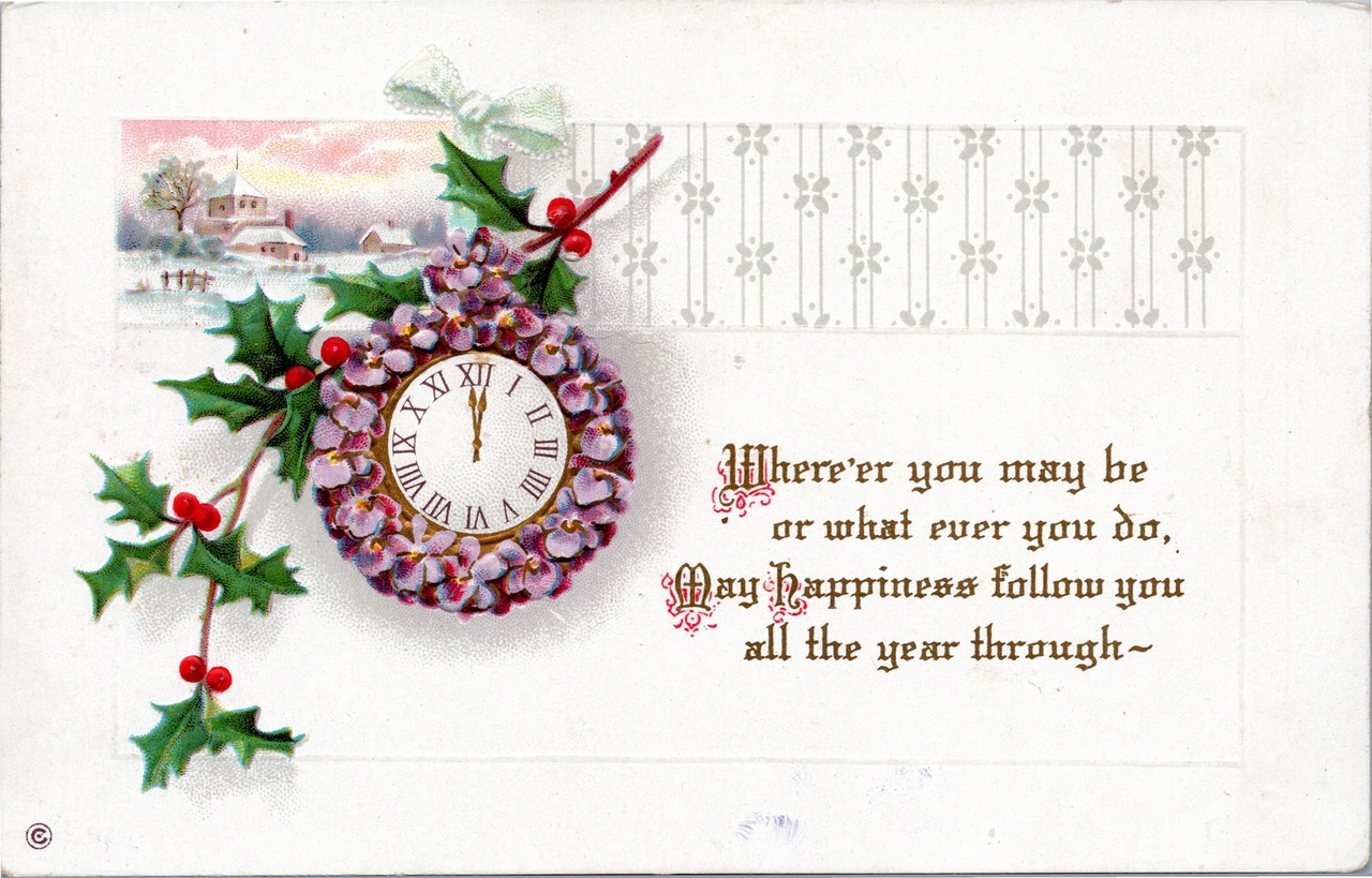 A Year Of Happiness happiness all the year through - holly with clock and winter scene
