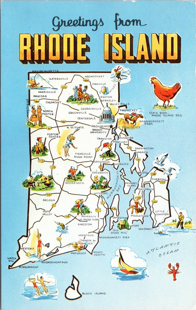Greetings from Rhode Island - State Map - posted 1962 Pray for Peace ...