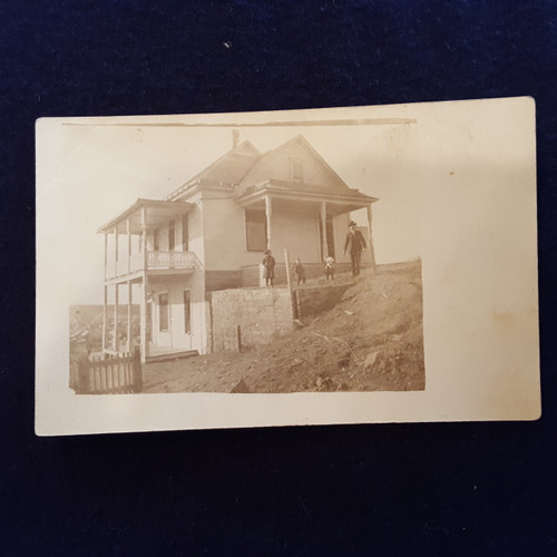 Antique Photograph - Postcard of Man with children in front of house