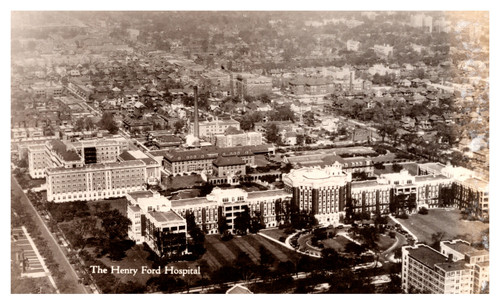 Aerial photo of The Henry Ford Hospital vintage postcard