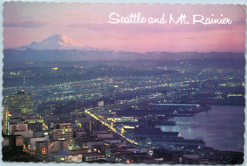 Seattle and Mt. Rainier at twilight