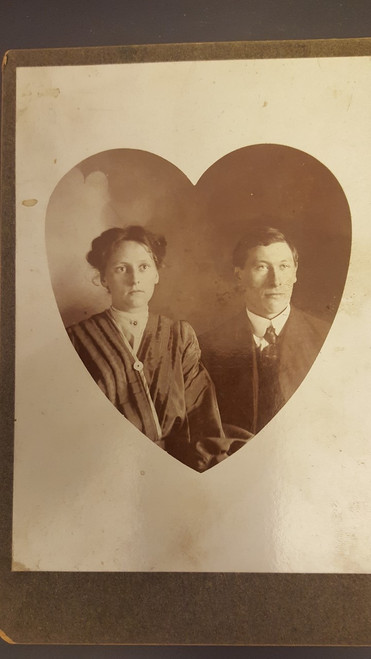 Cabinet Card  Couple in heart shape photograph