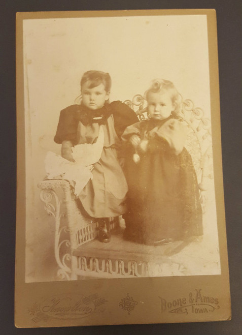 Cabinet Card - two young girls on wicker chair