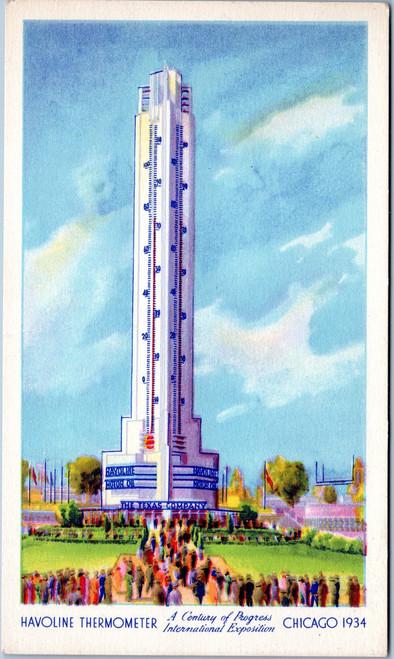 Havoline Thermometer 1934 world's fair postcard