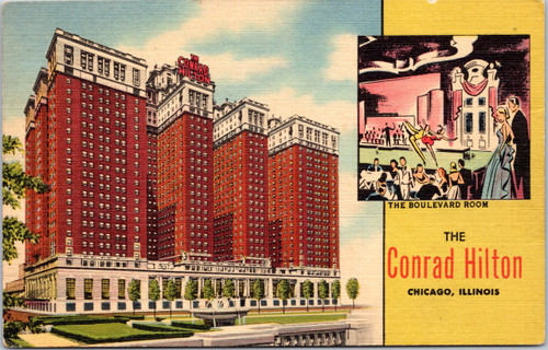 The Conrad Hilton vintage postcard