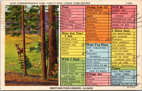 Dizzy Correspondence Card