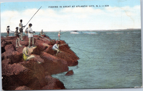 Linen postcard featuring people fishing off jetty in Atlantic City NJ