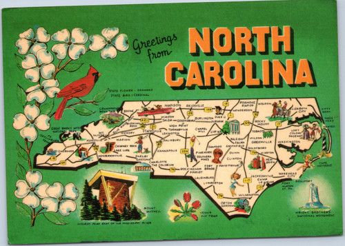 North Carolina highlight postcard