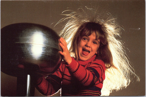 Girl touching static electricity ball with hair standing on end