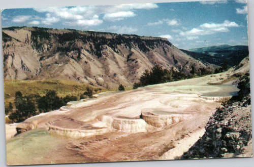 Mammoth Terraces and Mt. Everts at Yellowstone Park