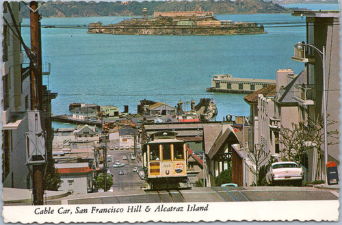Cable Car, San Francisco Hyde St. Hill and Alcatraz Island
