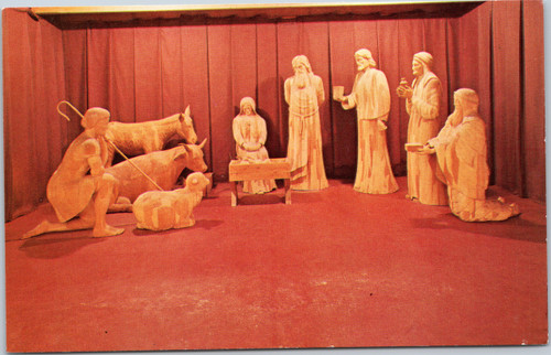 Life Size Wood Carving of the Nativity postcard