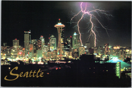 Seattle skyline lightning strike