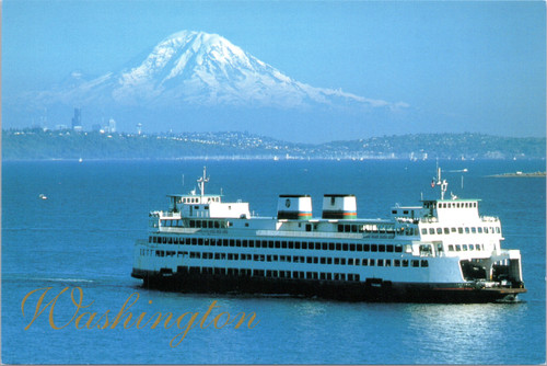 Mt. Rainier over Puget Sound with Ferry