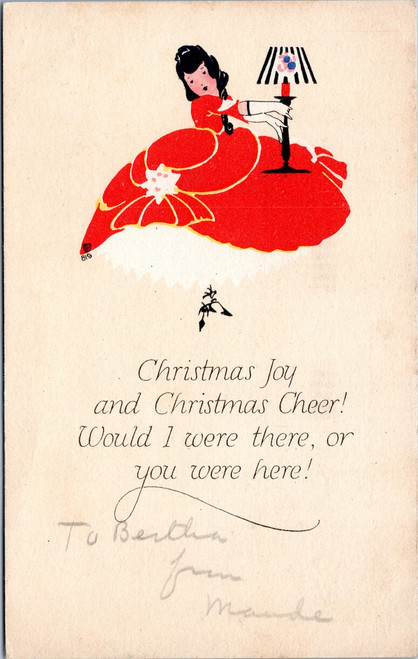P.F. Volland 819 Christmas Johy art deco woman in red dress