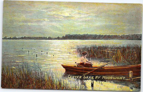 Warsaw, Indiana - Center Lake by moonlight - Woman in rowboat