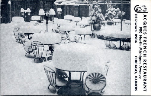 Jacques French Restaurant outdoor dining patio in snow
