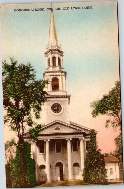 Congregational Church, Old Lyme, Connecticut - Hand Colored