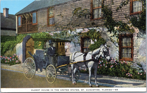 Horse and Carriage in front of the oldest house
