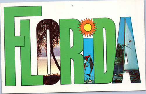 Florida postcard - letters green and photo